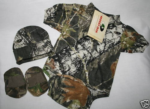 MOSSY OAK CAMO CAMOUFLAGE 3 PC INFANT BABY GIFT SET
