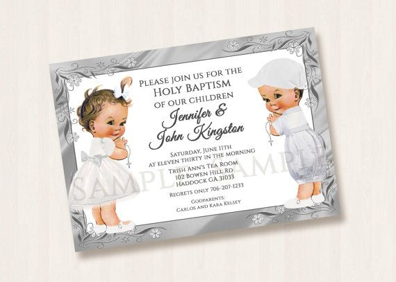 38 best Invitations images on Pinterest Birthdays, Invitation - sample baptismal invitation for twins