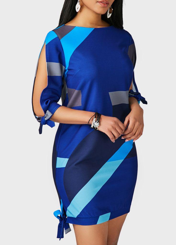 Round Neck Navy Blue Tie Side Printed Dress on sale only US$31.58 now, buy cheap Round Neck Navy Blue Tie Side Printed Dress at liligal.com