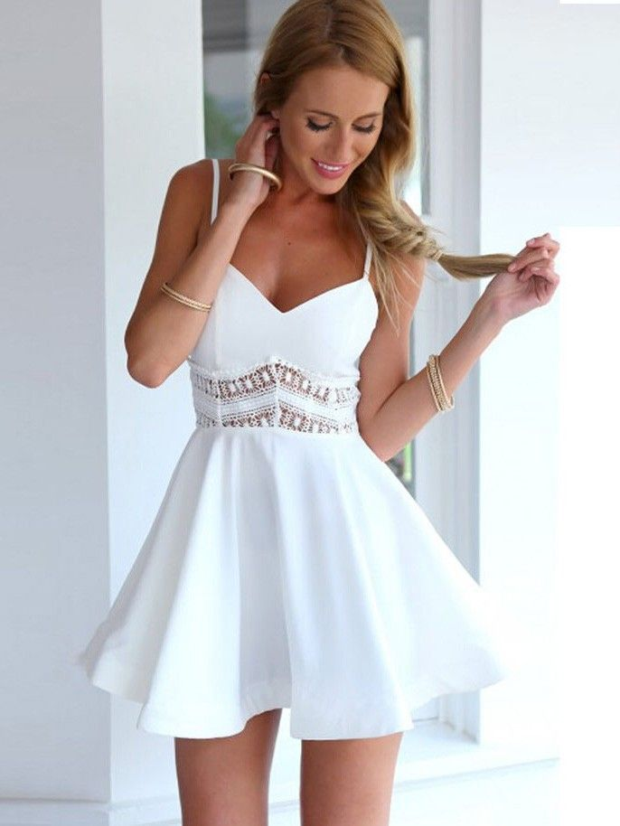 Sexy Waist Lace Stitching V-neck Swing Straps Mini Dress