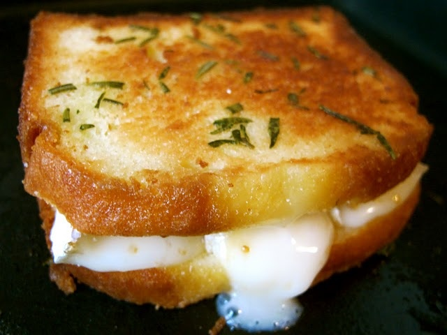 pound cake + brie + fig grilled cheese, what?!  I have to try this!