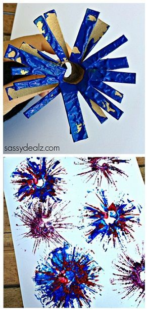 4th of July Toilet Paper Roll Fireworks Craft for Kids | http://www.sassydealz.com/2014/05/toilet-paper-roll-firework-stamp-craft-kids.html