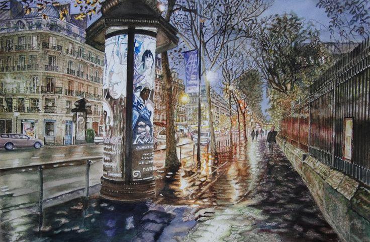 Autumn Lights, Aquarelle 55 x 38, Fabriano 300 gr, Original price: 1000 Euro, exclusive high end imprint on aquarelle paper - 100 Euro