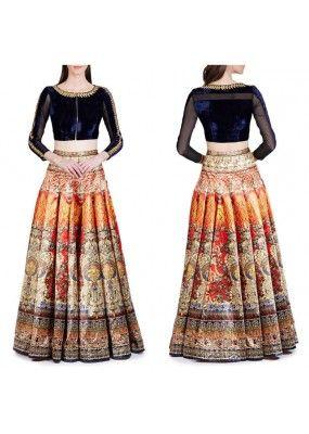 Bollywood Replica -  Party Wear Blue & Multi-Colour Crop Top Lehenga…