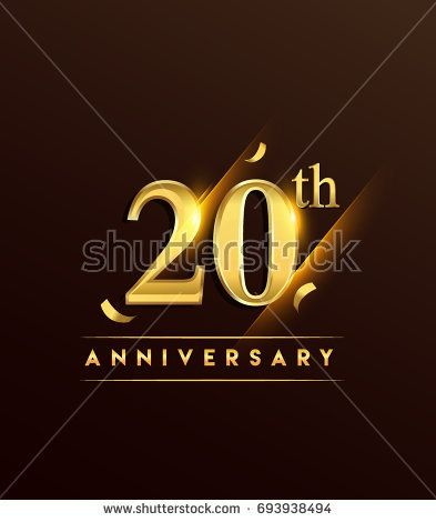 20th anniversary glowing logotype with confetti golden colored isolated on dark background, vector design for greeting card and invitation card.