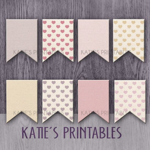 Printable Valentines Day Bunting Pink Grey And Beige
