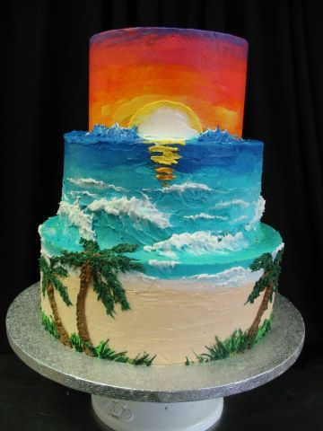 "Sunset Cake - I made this cake at work for a wedding... They requested ""the most amazing cake anyone has seen."" (!) I hope the cake lived up to their expectations. The cake is all decorated in butter cream icing."