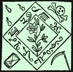 """This design for an amulet comes from the Black Pullet grimoire. Embroider it upon black satin, and say """"Nades, Suradis, Maniner"""", and a djinn is supposed to appear; tell the djinn """"Sader, Prostas, Solaster"""", and the djinn will bring you your true love. Say """"Mammes, Laher"""" when you tire of her."""