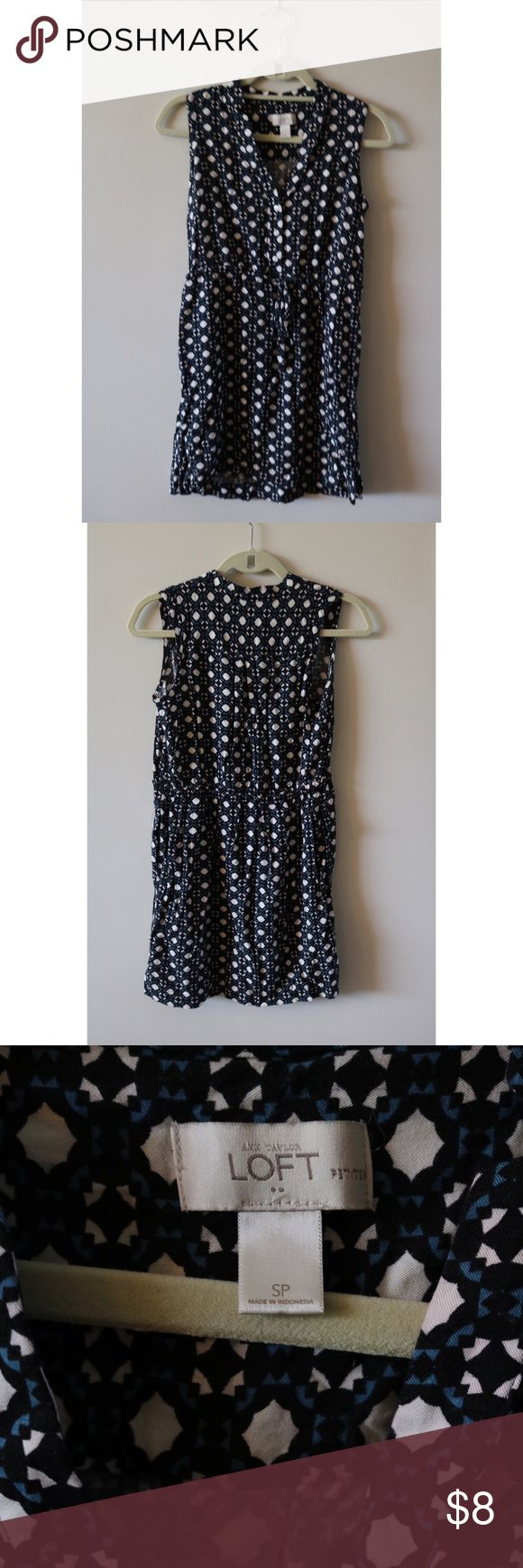 Ann Taylor LOFT Outlet SP Geometric  shirtdress Very good condition--no flaws just normal wash and wear.  Small Petite ANN TAYLOR LOFT OUTLET sleeveless shirt dress with a white, black, and blue geometric pattern.  Perfect for casual or with a cardigan for work.  100% RAYON LOFT outlet Dresses