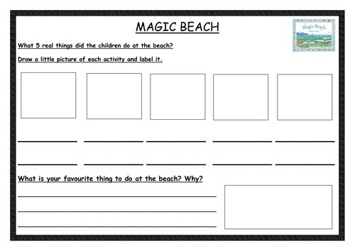 A literacy activity using thinking skills based on the book Magic Beach by Alison Lester.