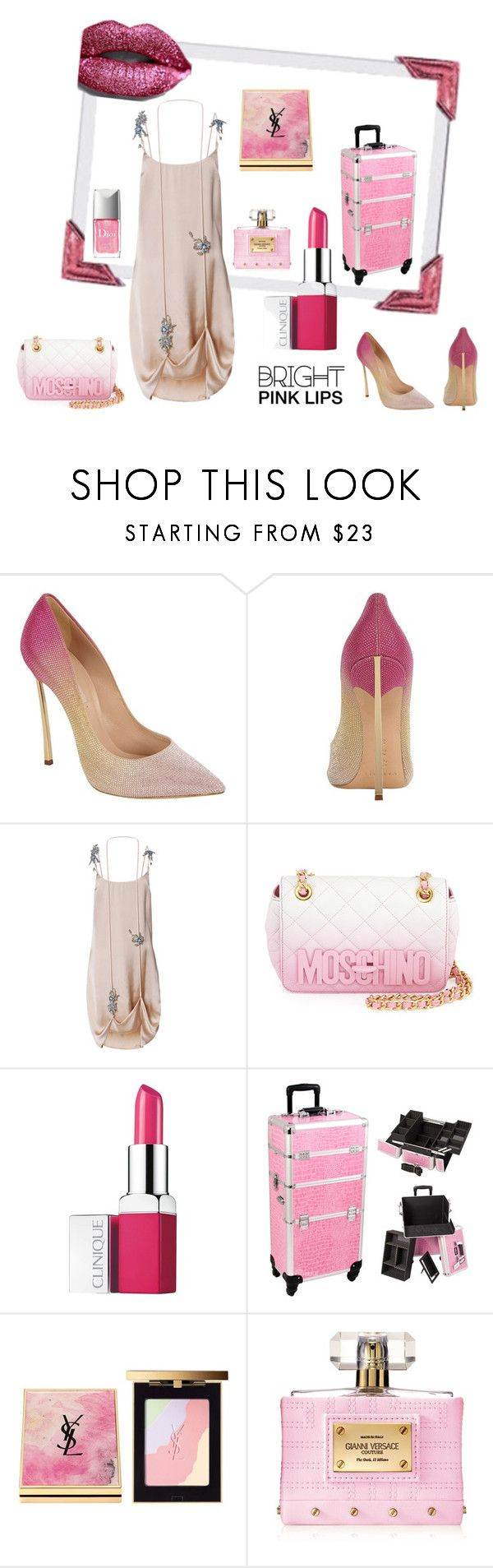 """Яркая помада в моде."" by ludmila-petrova ❤ liked on Polyvore featuring beauty, Casadei, Christopher Kane, Moschino, Clinique, Yves Saint Laurent and Versace"