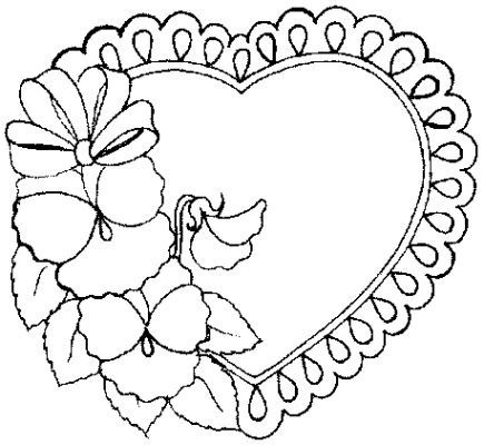 Lace heart with pansies