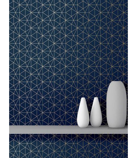 This Metro Prism Geometric Triangle Wallpaper in Navy and Gold features stylish metallic elements. Part of the World of Wallpaper Metro Collection. Free UK delivery available.