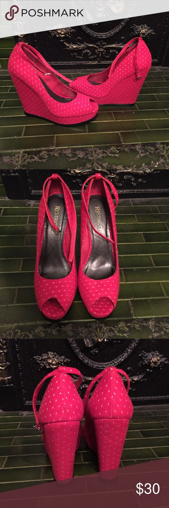 """Red peeptoe platform wedge size 8.5 These are red with white dots and a cute ankle strap. They were only worn once so they're in near perfect condition. The front platform is 1"""" and the back is 5.25"""" tall. Feel free to ask any questions! Restricted Shoes Wedges"""