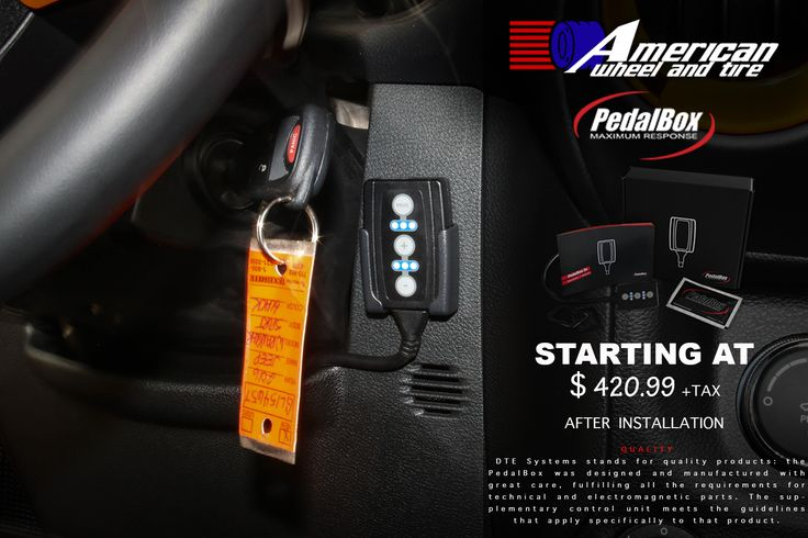 NEW PEDAL BOX IN-STOCK AVAILABLE TODAY!!! More information please call (713) 682-1085 http://www.americanwheelandtire.com http://www.pedalbox.com/en/product/the-pedalbox/ DTE Systems developed the PedalBox in order to improve response in modern cars. The PedalBox is an additional control unit, with four user-selectable programmes, that increases throttle response by removing delays in the accelerator, enhancing driveability. We finance! No credit needed! $49 down! Instant approval! 90%…
