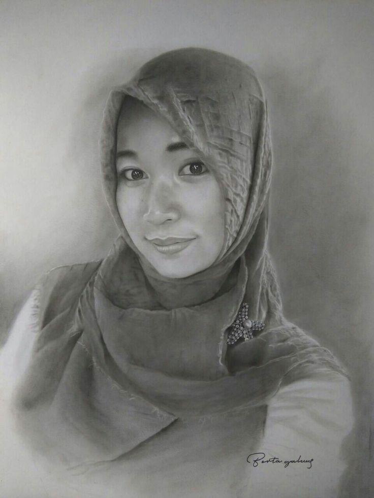 Hijab cantik, mamud, drawing portrait, pencill on paper 30x40, by ari berta galung