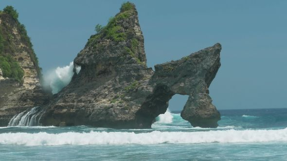 Huge Wave Hitting the Rock in the Ocean at Atuh Beach on Nusa Penida Island, Indonesia