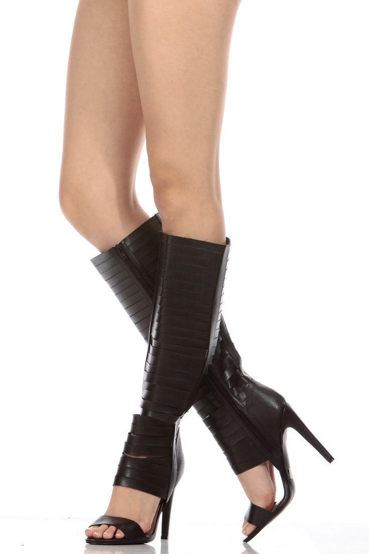 fe547919539 Women s Fashion High Heels   Black Faux Leather Strappy Knee High Gladiator  Heels   Cicihot Heel