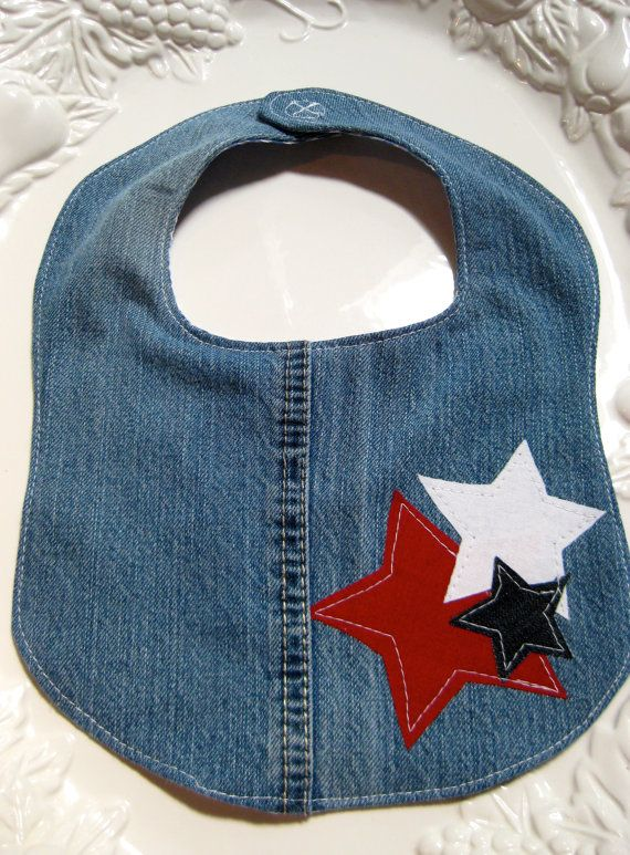 READY TO SHIP  Upcycled Jeans  Patriotic Baby Bib by SewSewBeans, $9.50
