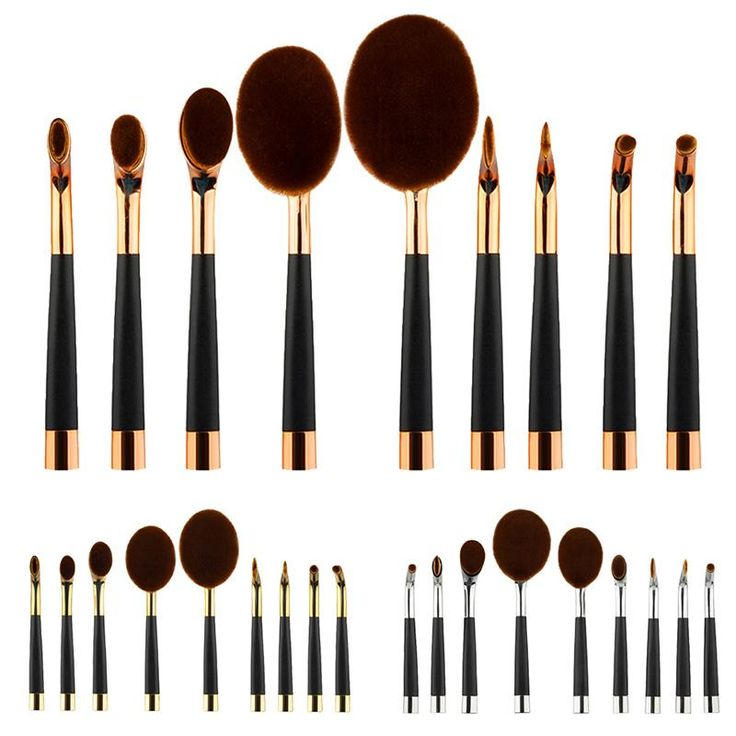 9 PCS Nylon Hair Toothbrush Makeup Oval Powder Cream Foundation Brushes Set BOX -- BuyinCoins.com