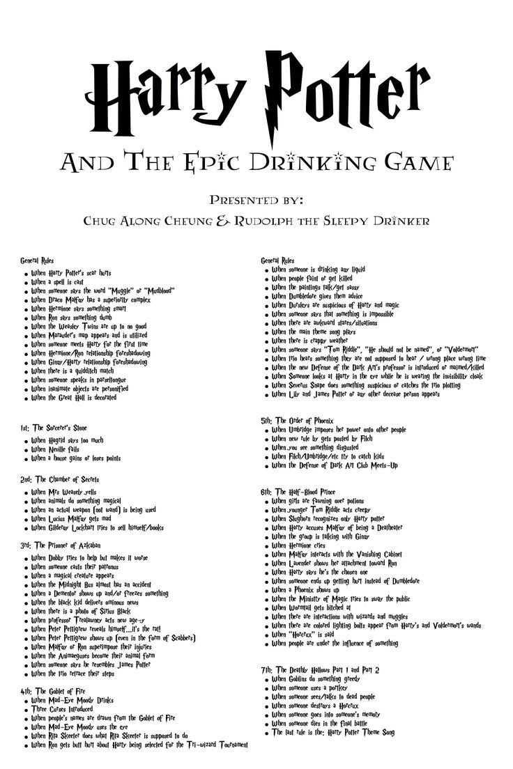 Another Pinner Says: After months of beta testing...I present to you the Harry Potter Drinking Game - Imgur