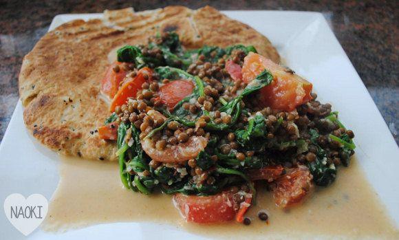 Vegetarisch recept: spinazie curry met linzen
