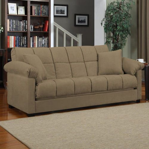 Mocha Sleeper Sofa Convertible Couch Full Bed Futon Living Room Furniture Guests #AndoverMills