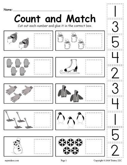 free printable winter counting and matching cut and paste worksheet  cut and paste worksheets math worksheets free printable kindergarten  worksheets preschool learning activities