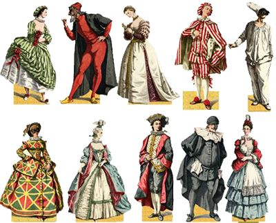 Traditional commedia dell'arte stock characters, clockwise from left to right: Corralina, Pantalone, Florinetta, Mezzettino, Pulcinella, Combombina, Balanzone, Lelio, Silvia, and Arlecchinella. A Levy – Paris, 1862.