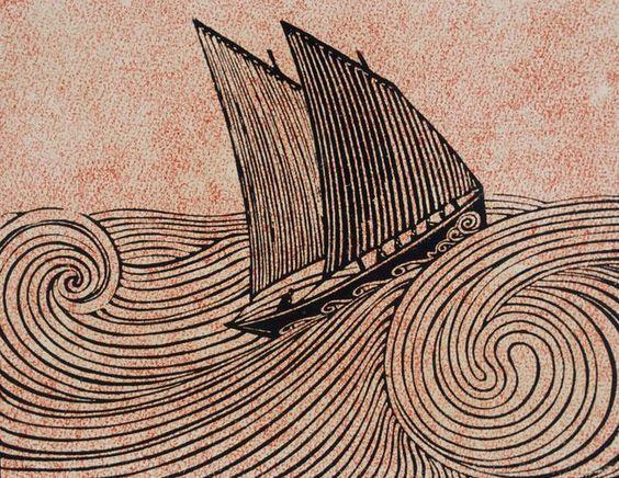 René Quillivic, Le voilier, 1920, gravure sur bois (Brest, musée des Beaux-Arts ©DR).: