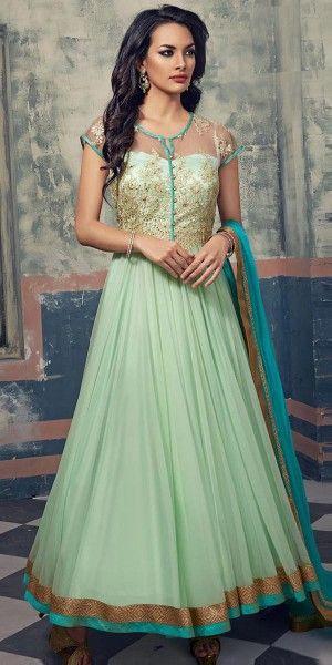Precious Net Anarkali Suit In Green Color.