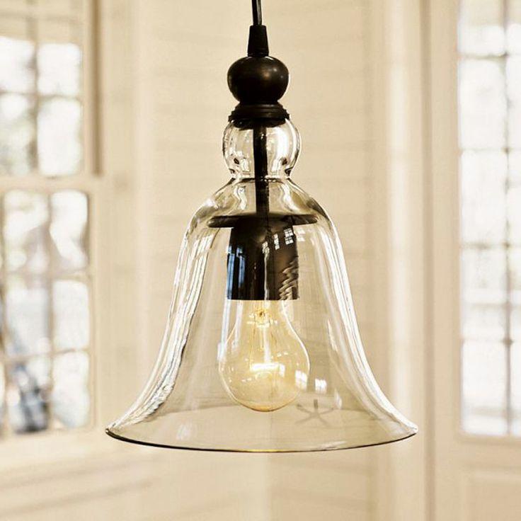 American style pendant light vintage bell restaurant lamp transparent glass pendant light lamp caplights at both ends d8085 US $48.00