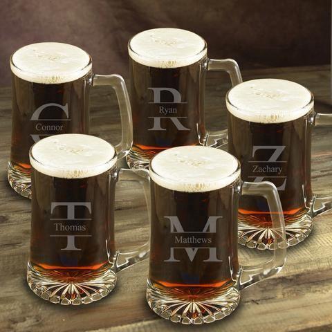 Monogrammed  Set of 5 -  Heavy Beer Mugs - 25oz