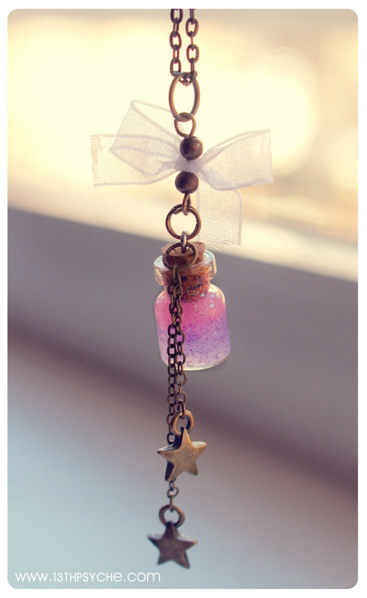 Cute White Lace Tiny Bottle Necklace with glitter gel by Vhea, €10,00