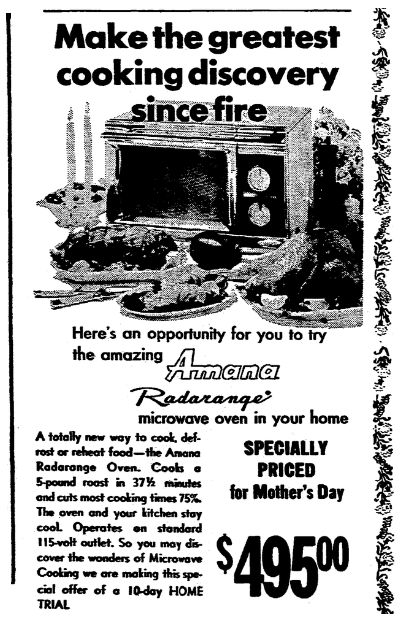 """An ad for a microwave oven, published by the Morning Star newspaper (Rockford, Illinois), 30 April 1970. Read more on the GenealogyBank blog: """"Did You Know Today Is National Microwave Oven Day?"""" https://blog.genealogybank.com/did-you-know-today-is-national-microwave-oven-day.html"""
