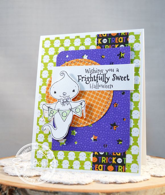 Card by Stacey Schafer for SugarPea Designs.  Stamp: Eek-A-Boo.  SugarCut Dies: Scattered Stars, Zig Zag Stitched Circles.  Halloween Card.