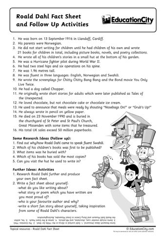 Roald Dahl Pack - If you're teaching your children about Roald Dahl or celebrating Roald Dahl Day (on 13th September), this collection of lesson plans and resources from EducationCity will be a huge help!