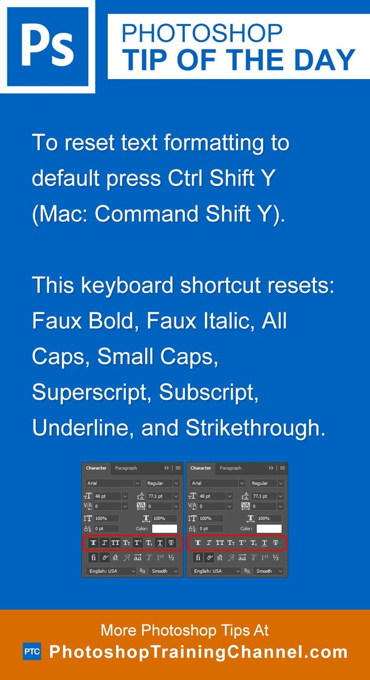 To reset text formatting to default press Ctrl Shift Y (Mac: Command Shift Y).This keyboard shortcut resets: Faux Bold, Faux Italic, All Caps, Small Caps, Superscript, Subscript, Underline, and Strikethrough.