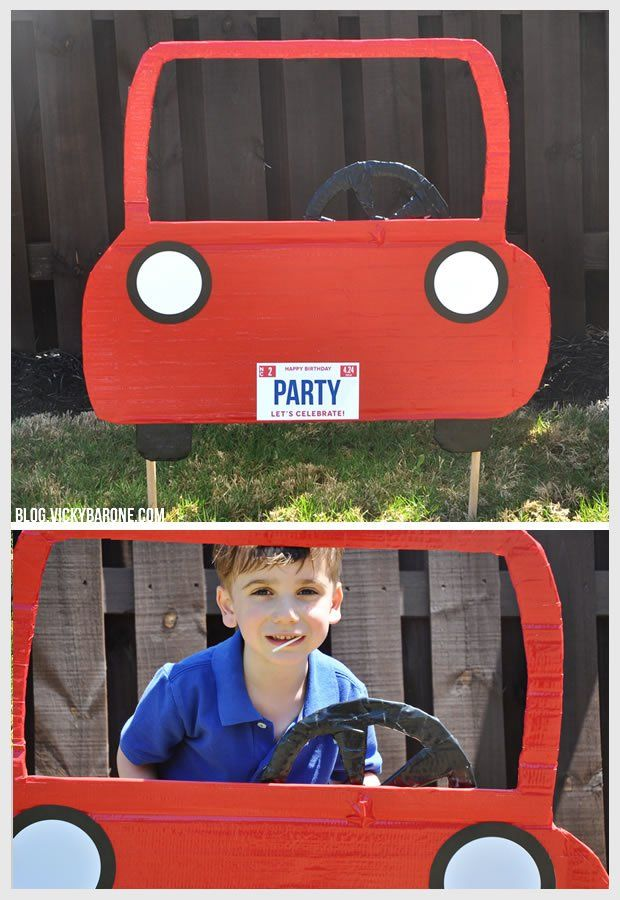 DIY Car Photo Booth | Vicky Barone | Kids race car birthday party ideas