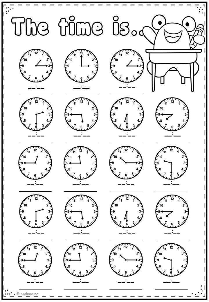 Telling Time Practice Page Kids math worksheets