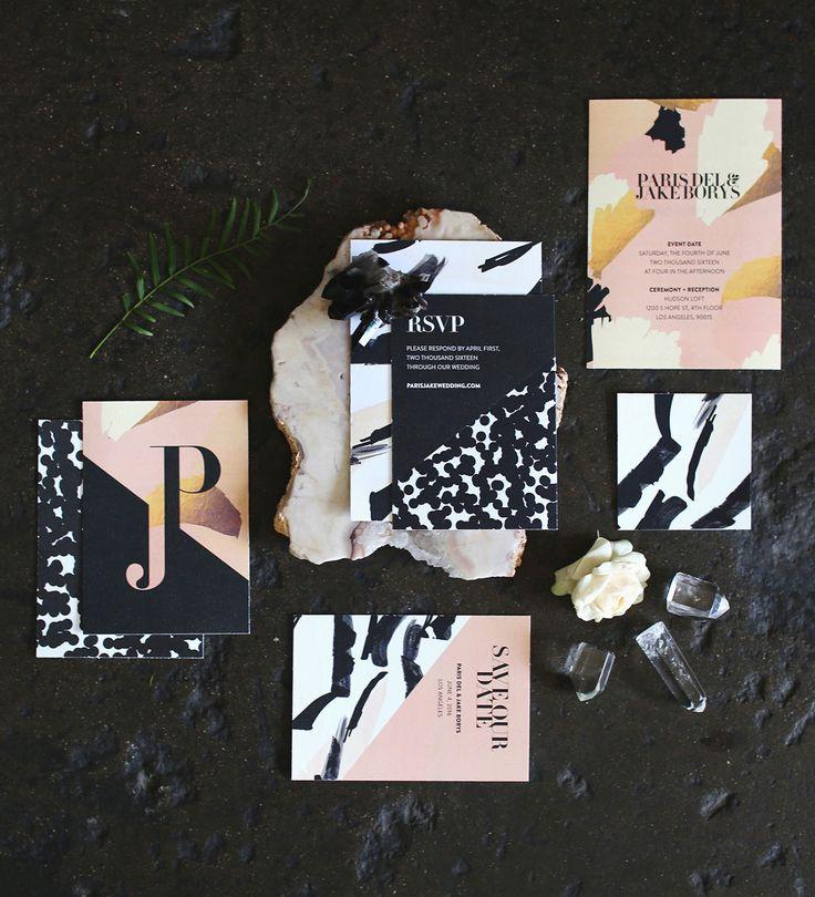 Black, gold + pink wedding invitation