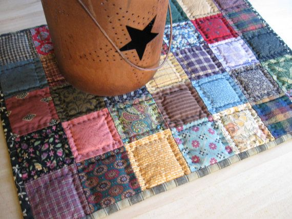 MIniature Quilted Table Topper Mat Scrappy Patchwork Quilt Primitive Rustic Country Decor Farmhouse Decor Colorful