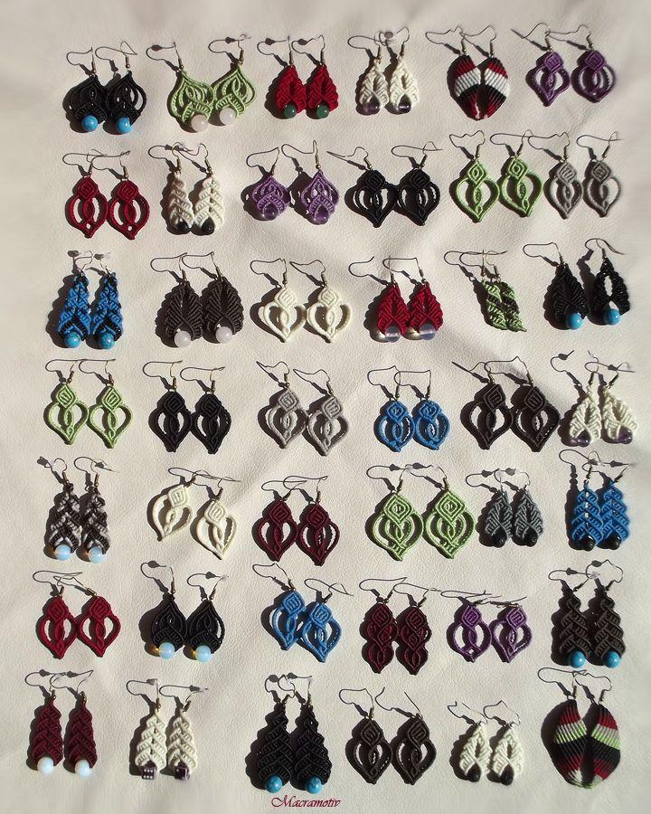 Macrame tutorials: http://macramotiv.com Makramé ékszerek, egyedi fülbevalók, macrame, knotted earrings: http://www.meska.hu/Shop/index/17554