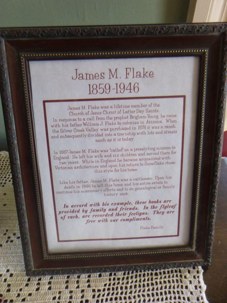 James M. Flake plaque at the Flake House in Snowflake, Arizona