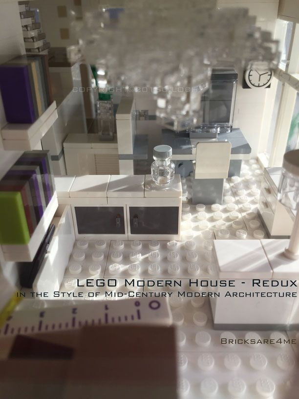 """LEGO Modern House - Redux - in the Style of Mid-Century Modern Architecture by Bricksare4me - as seen at BrickCan 2016 in Vancouver BC - awarded """"Best Edifice"""" - craft room / office"""