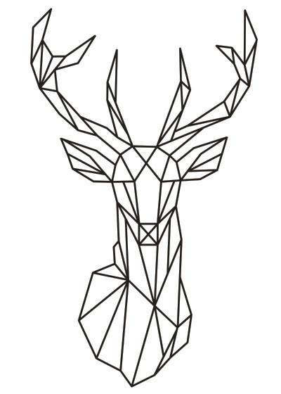 Geometric Deer Head Wall Sticker Geometry Animal Series Decals 3D Vinyl Wall Art Custom Home Decor Size 51x86 cm