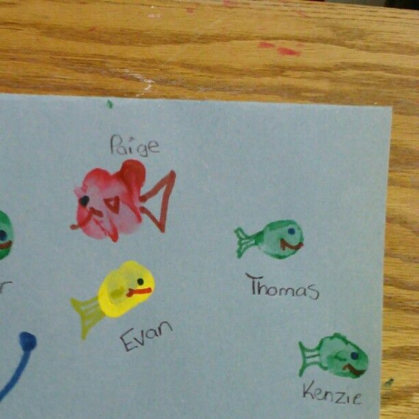 """Thumbprint Fish on Farewell card """"we'll miss you in our school"""""""