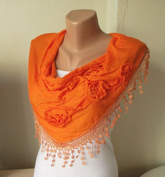 Orange, Mandarin Cotton Scarf with three roses and tassel Lace - Periay   Check out this shop on Etsy. She has some really beautiful stuff.
