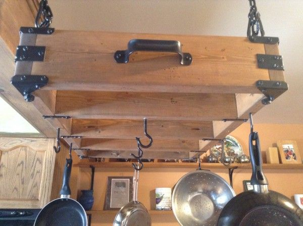 Rustic Pot Rack | Do It Yourself Home Projects from Ana White.. Sammy you could make this