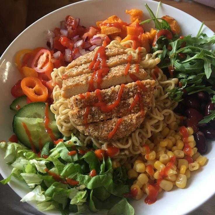 Spicy quorn burger with hot sauce and I added spicy noodles too
